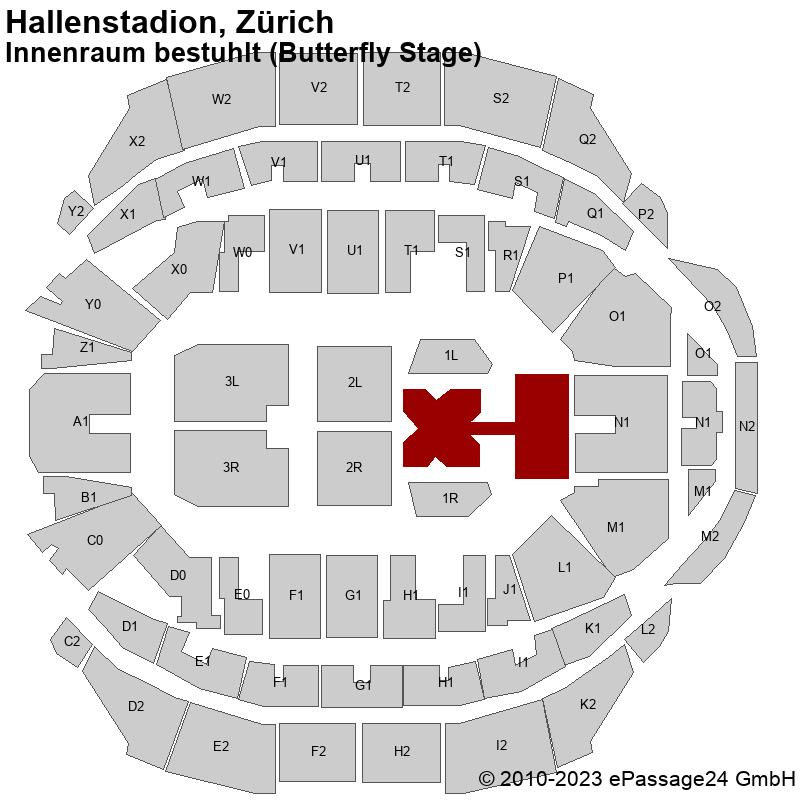Saalplan Hallenstadion, Zürich, Schweiz, Innenraum bestuhlt (Butterfly Stage)