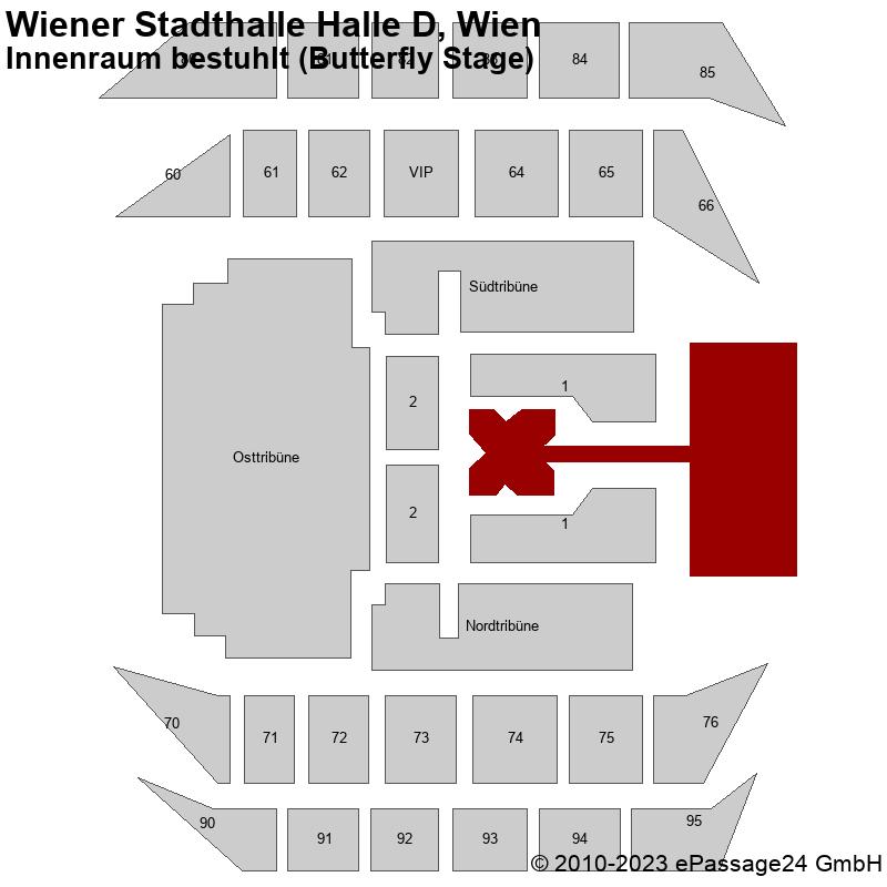 Saalplan Wiener Stadthalle Halle D, Wien, Österreich, Innenraum bestuhlt (Butterfly Stage)