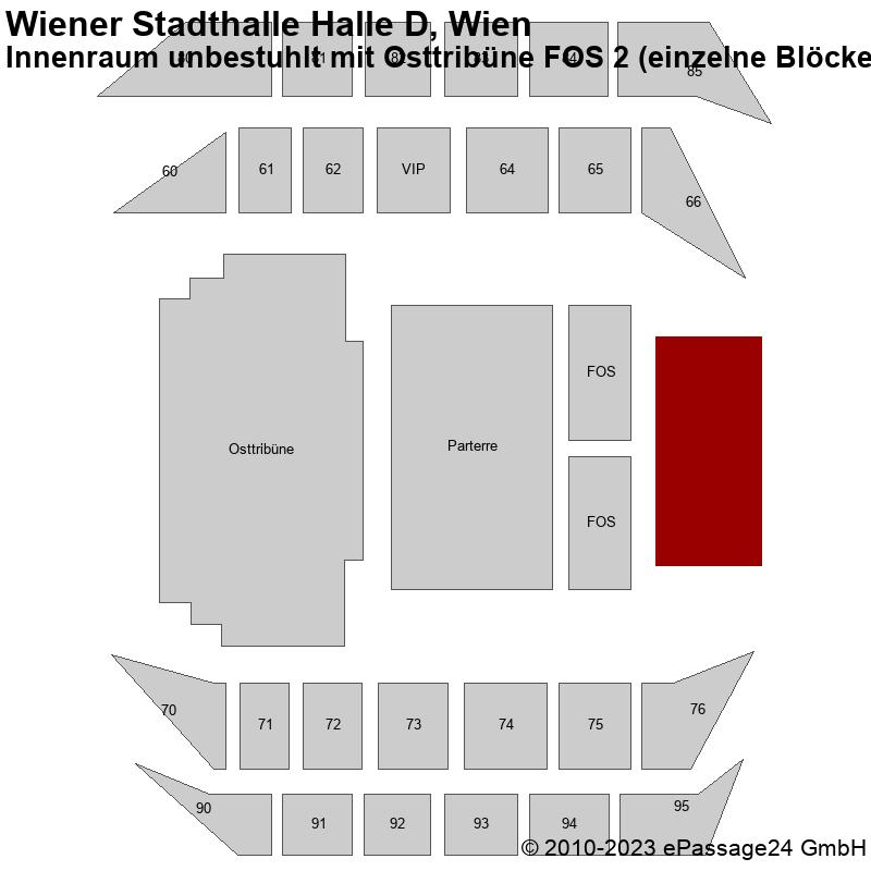 Saalplan Wiener Stadthalle Halle D, Wien, Österreich, Innenraum unbestuhlt mit Osttribüne FOS 2 (einzelne Blöcke)