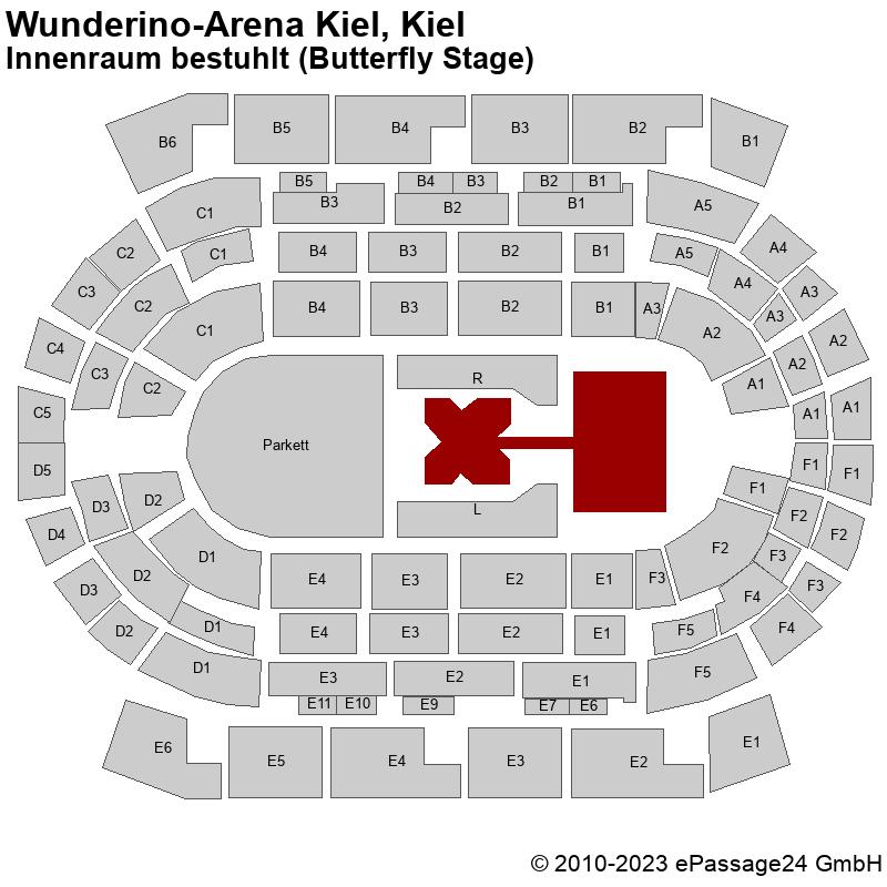 Saalplan Wunderino-Arena Kiel, Kiel, Deutschland, Innenraum bestuhlt (Butterfly Stage)