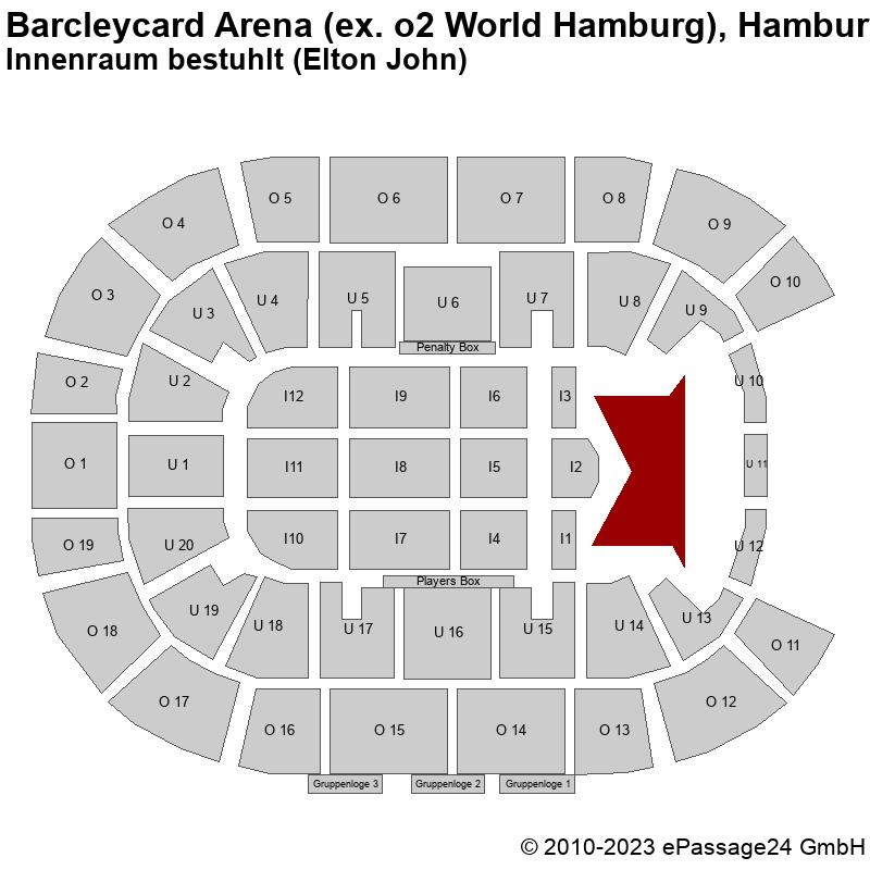 Saalplan Barcleycard Arena (ex. o2 World Hamburg), Hamburg, Deutschland, Innenraum bestuhlt (Elton John)