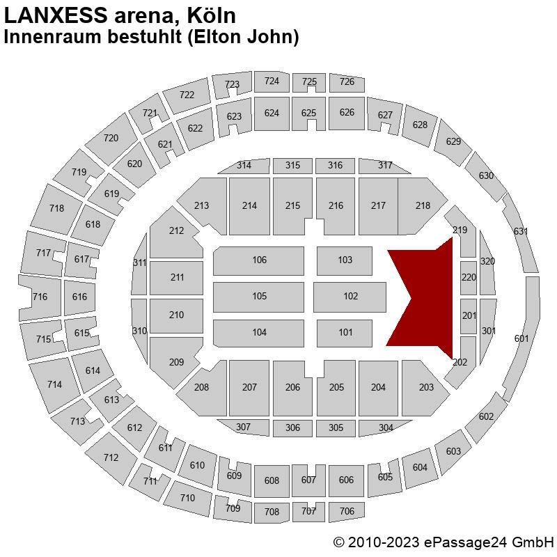 Saalplan LANXESS arena, Köln, Deutschland, Innenraum bestuhlt (Elton John)