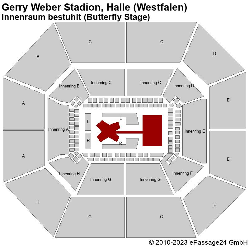 Saalplan Gerry Weber Stadion, Halle (Westfalen), Deutschland, Innenraum bestuhlt (Butterfly Stage)