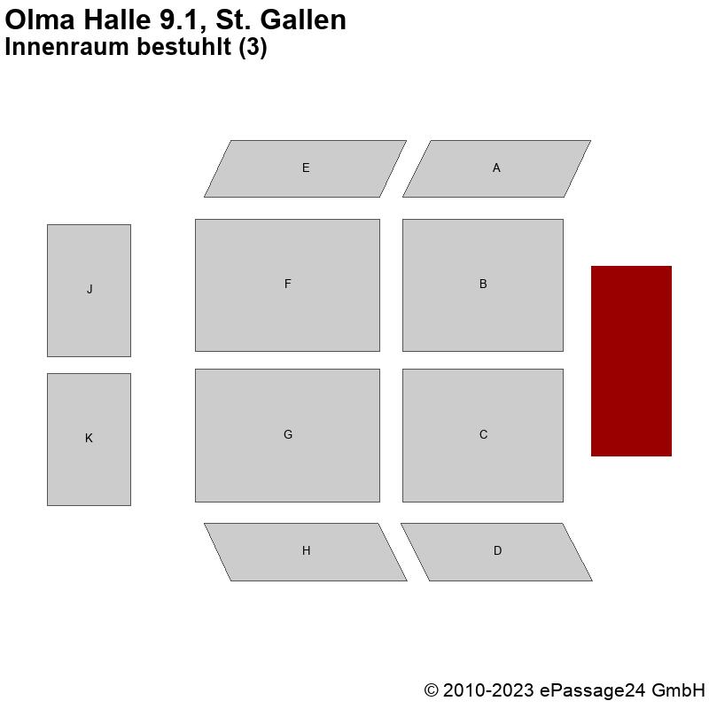 Saalplan Olma Halle 9.1, St. Gallen, Schweiz, Innenraum bestuhlt (3)