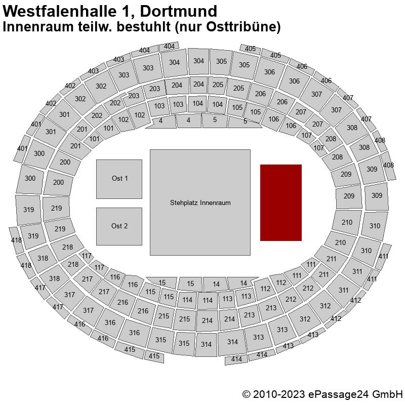 Saalplan Westfalenhalle 1, Dortmund, Deutschland, Innenraum teilw. bestuhlt (nur Osttribüne)