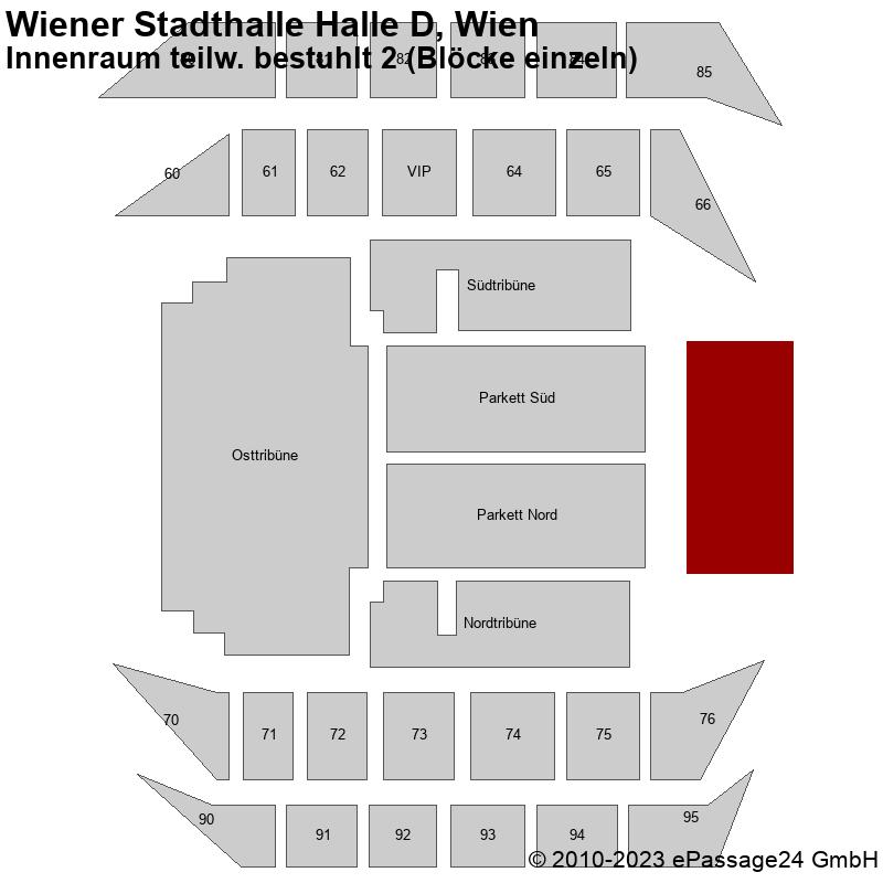 Saalplan Wiener Stadthalle Halle D, Wien, Österreich, Innenraum teilw. bestuhlt 2 (Blöcke einzeln)