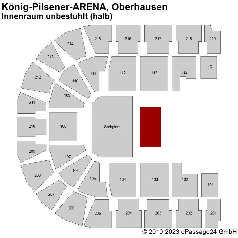 Saalplan König-Pilsener-ARENA, Oberhausen, Deutschland, Innenraum unbestuhlt (halb)
