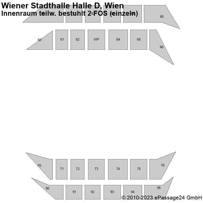 Saalplan Wiener Stadthalle Halle D, Wien, Österreich, Innenraum teilw. bestuhlt 2 FOS (einzeln)