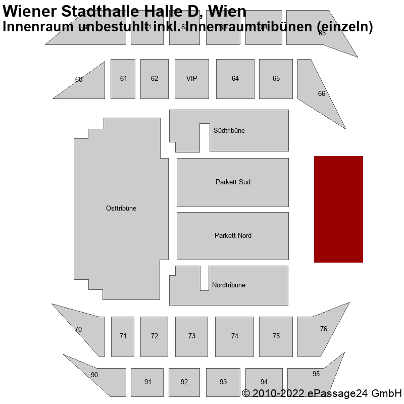 Saalplan Wiener Stadthalle Halle D, Wien, Österreich, Innenraum unbestuhlt inkl. Innenraumtribünen (einzeln)