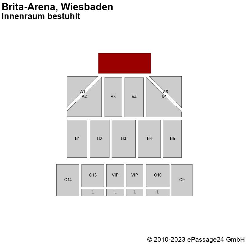 Saalplan Brita-Arena, Wiesbaden, Deutschland, Innenraum bestuhlt