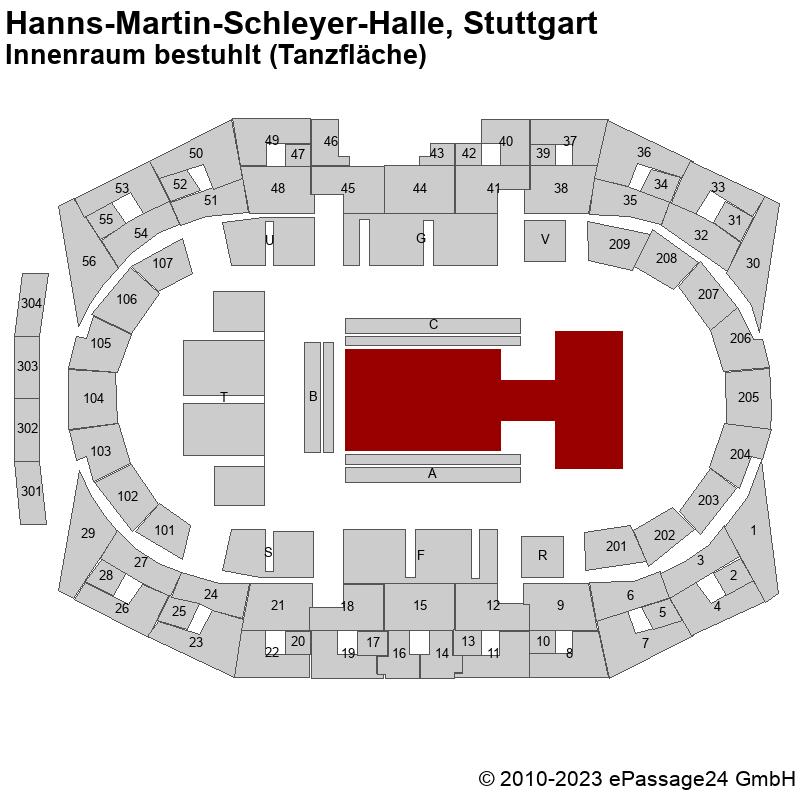 Saalplan Hanns-Martin-Schleyer-Halle, Stuttgart, Deutschland, Innenraum bestuhlt (Tanzfläche)