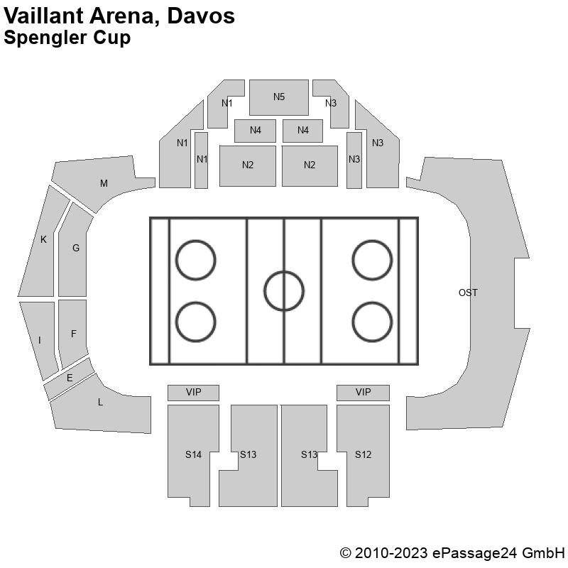 Saalplan Vaillant Arena, Davos , Schweiz, Spengler Cup