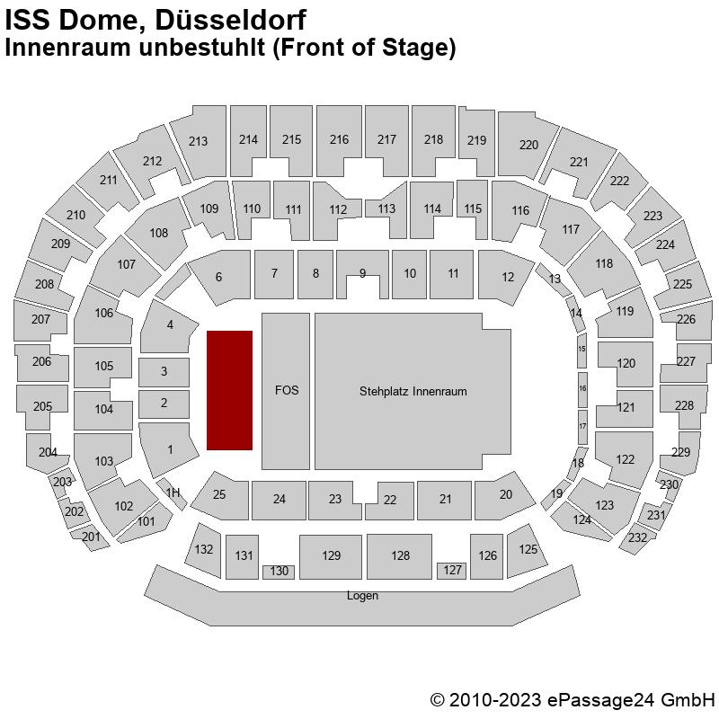 Saalplan ISS Dome, Düsseldorf, Deutschland, Innenraum unbestuhlt (Front of Stage)