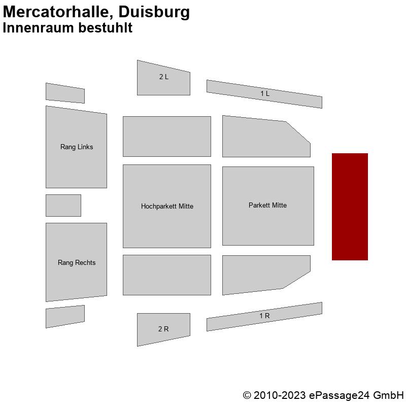 Saalplan Mercatorhalle, Duisburg, Deutschland, Innenraum bestuhlt
