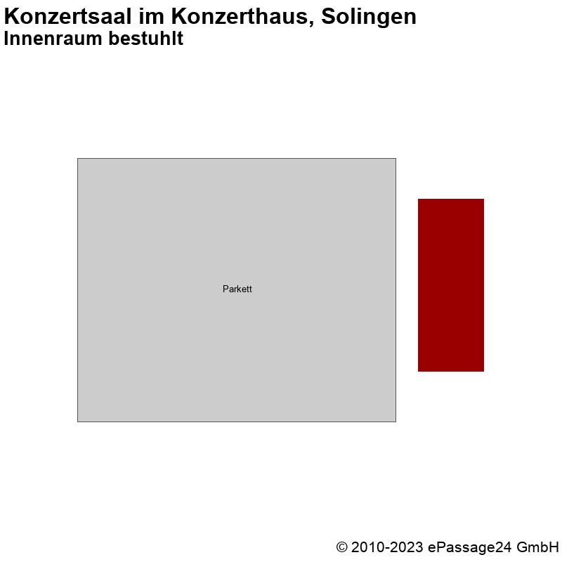 Saalplan Konzertsaal im Konzerthaus, Solingen, Deutschland, Innenraum bestuhlt
