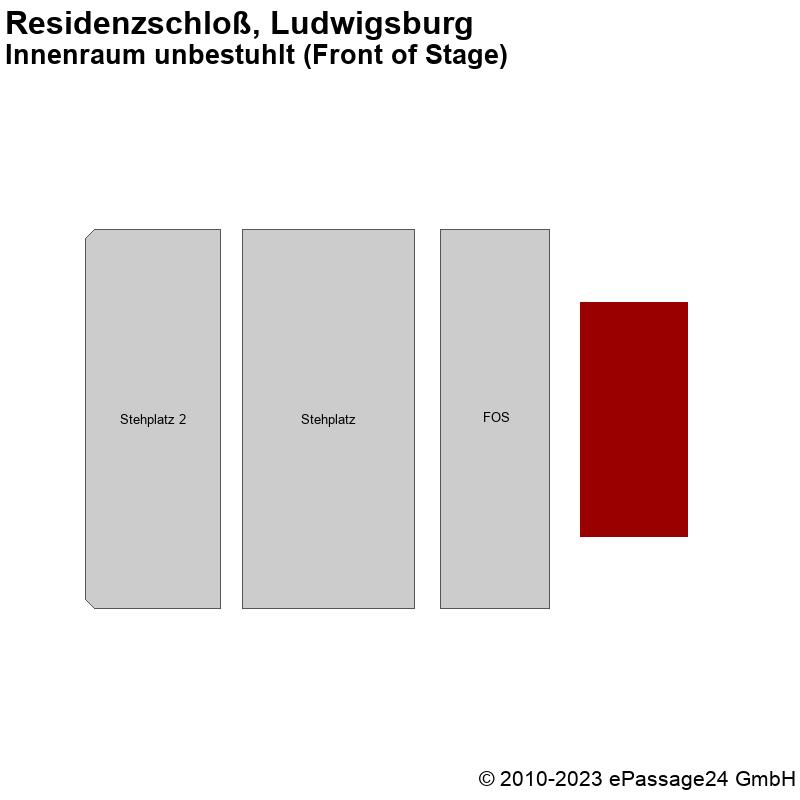 Saalplan Residenzschloß, Ludwigsburg, Deutschland, Innenraum unbestuhlt (Front of Stage)