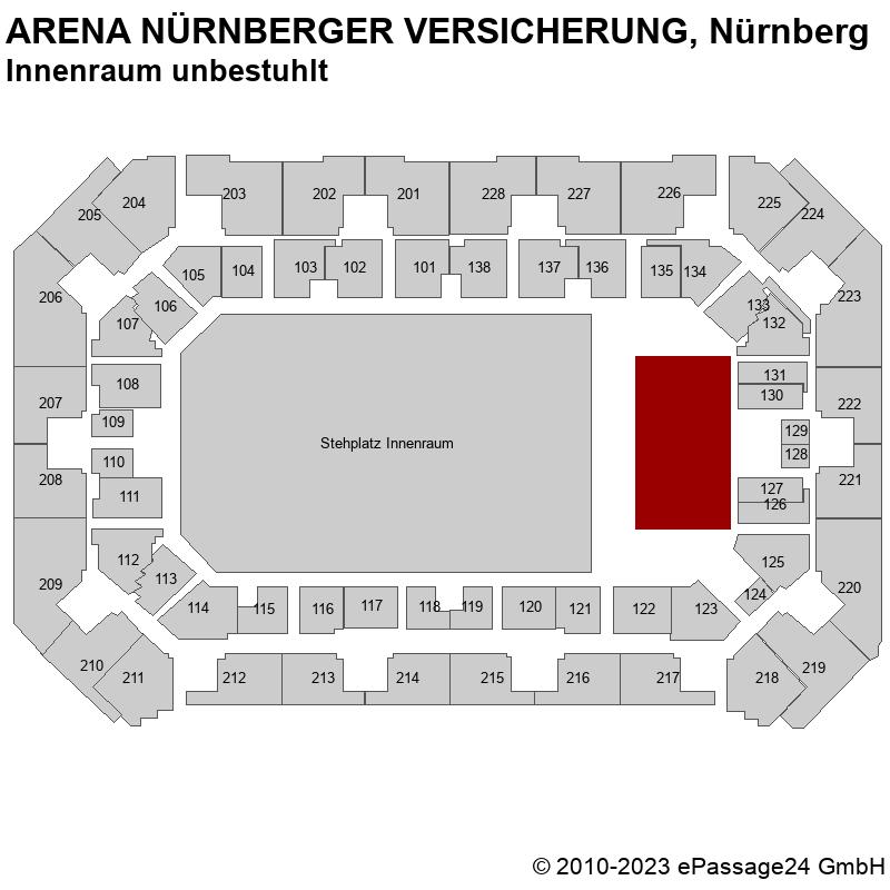 Saalplan ARENA NÜRNBERGER VERSICHERUNG, Nürnberg, Deutschland, Innenraum unbestuhlt