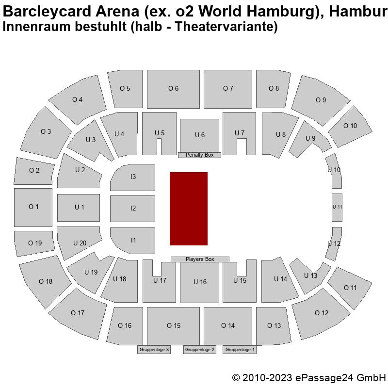 Saalplan Barcleycard Arena (ex. o2 World Hamburg), Hamburg, Deutschland, Innenraum bestuhlt (halb - Theatervariante)