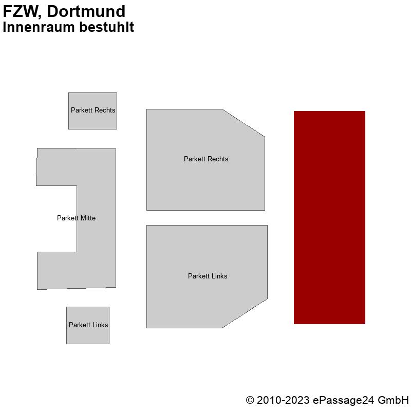 Saalplan FZW, Dortmund, Deutschland, Innenraum bestuhlt