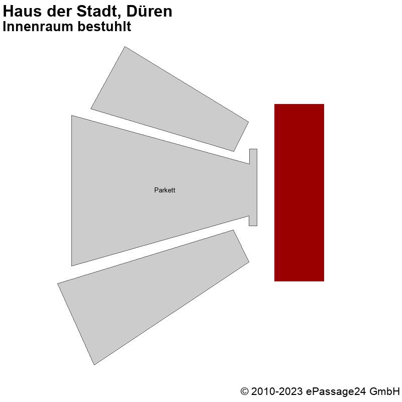 Saalplan Haus der Stadt, Düren, Deutschland, Innenraum bestuhlt
