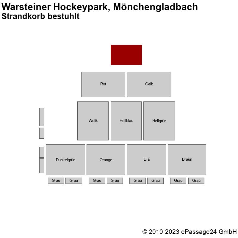 Saalplan Warsteiner Hockeypark, Mönchengladbach, Deutschland, Strandkorb bestuhlt