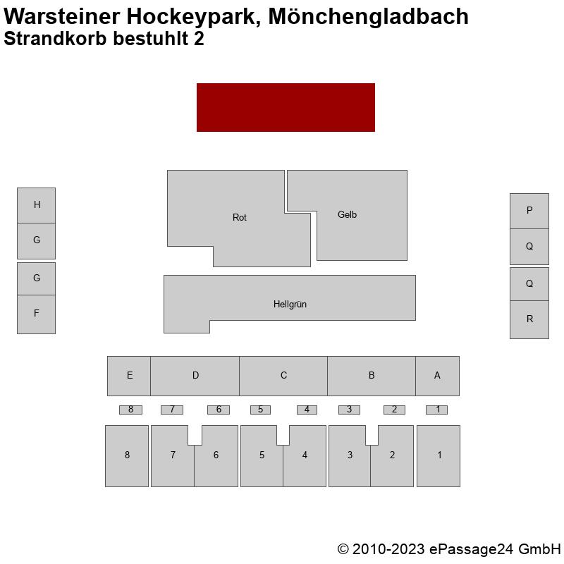 Saalplan Warsteiner Hockeypark, Mönchengladbach, Deutschland, Strandkorb bestuhlt 2