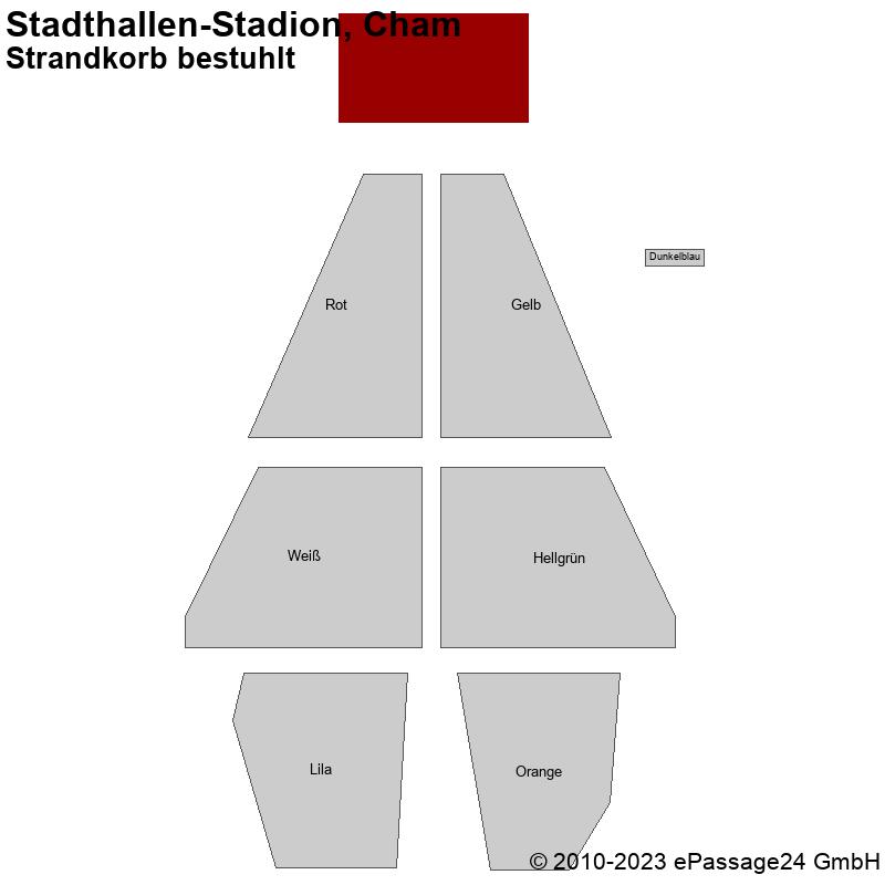Saalplan Stadthallen-Stadion, Cham, Deutschland, Strandkorb bestuhlt