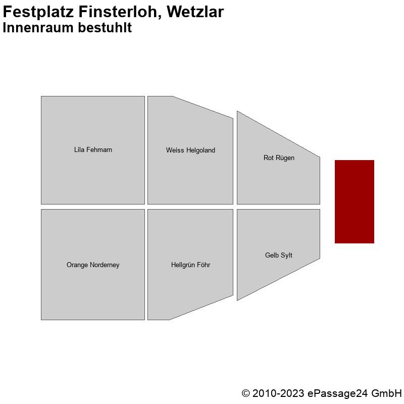 Saalplan Festplatz Finsterloh, Wetzlar, Deutschland, Innenraum bestuhlt