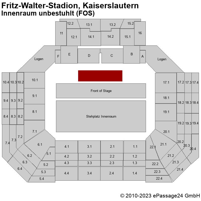 Saalplan Fritz-Walter-Stadion, Kaiserslautern, Deutschland, Innenraum unbestuhlt (FOS)