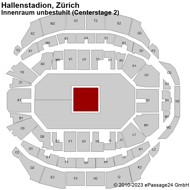 Saalplan Hallenstadion, Zürich, Schweiz, Innenraum unbestuhlt (Centerstage 2)