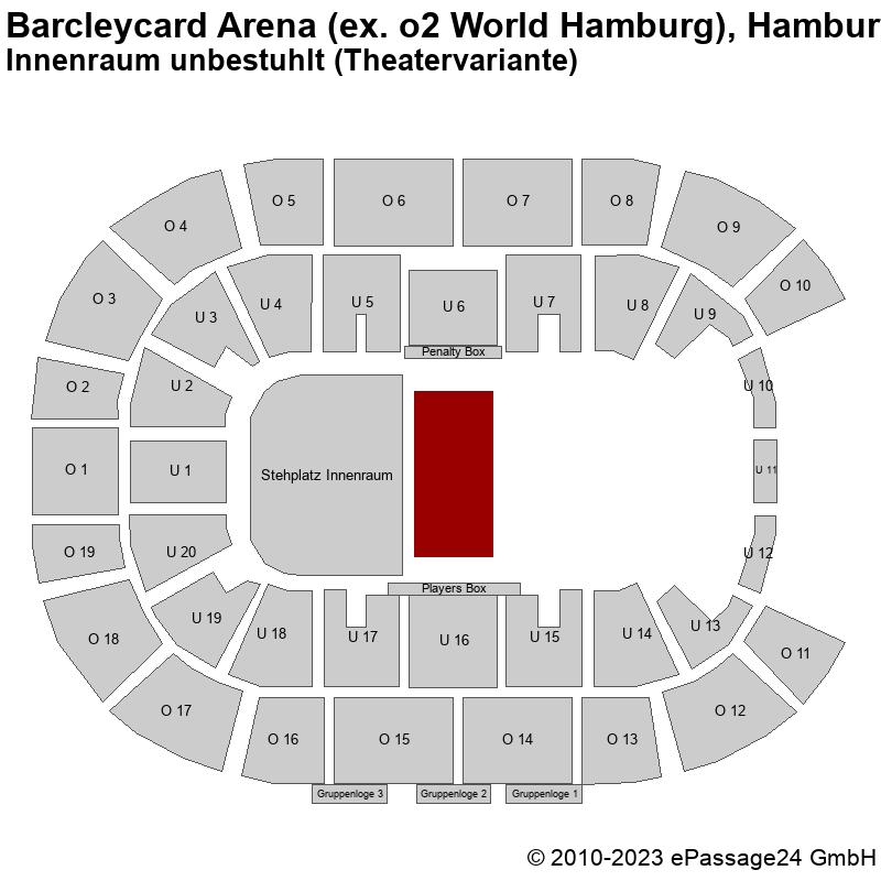 Saalplan Barcleycard Arena (ex. o2 World Hamburg), Hamburg, Deutschland, Innenraum unbestuhlt (Theatervariante)