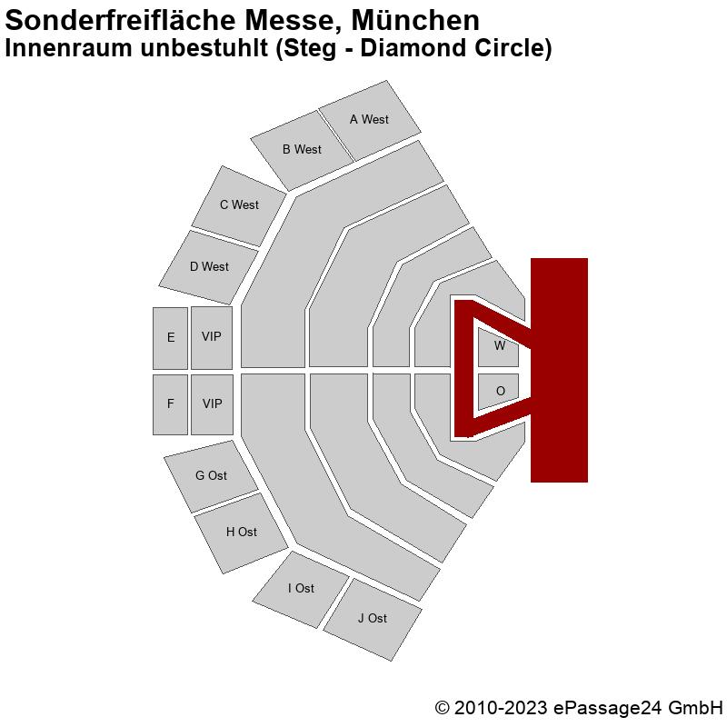 Saalplan Sonderfreifläche Messe, München, Deutschland, Innenraum unbestuhlt (Steg - Diamond Circle)