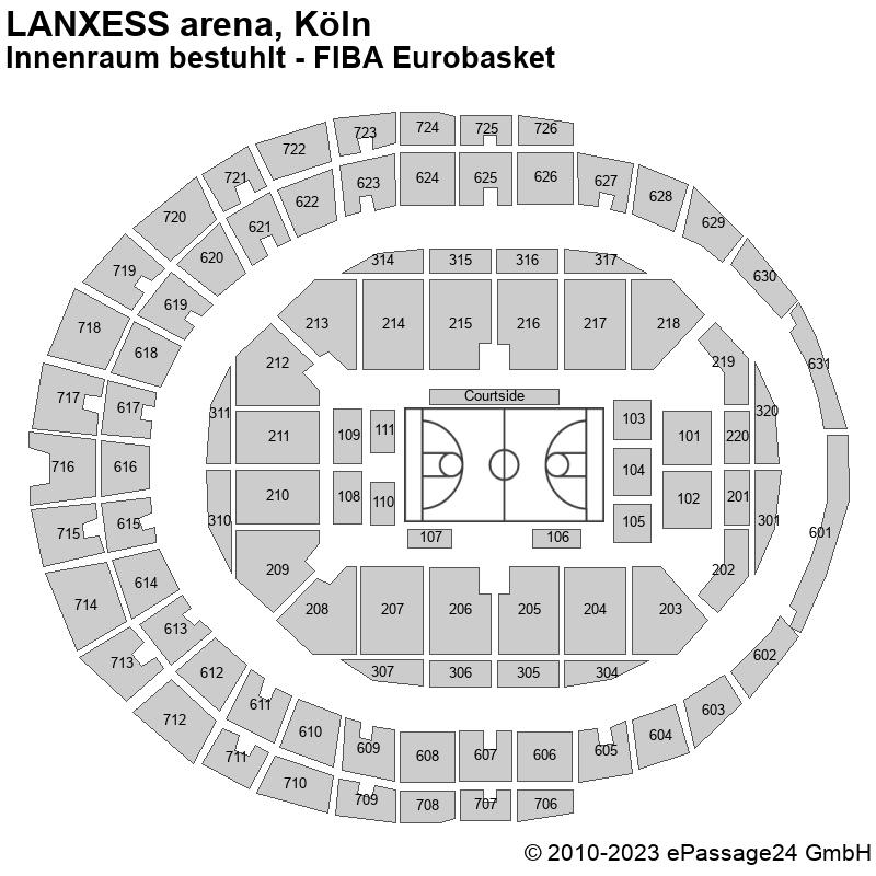 Saalplan LANXESS arena, Köln, Deutschland, Innenraum bestuhlt - FIBA Eurobasket