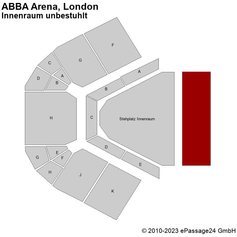 Saalplan ABBA Arena, London, Großbritannien, Innenraum unbestuhlt