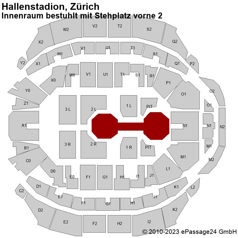 Saalplan Hallenstadion, Zürich, Schweiz, Innenraum bestuhlt mit Stehplatz vorne 2