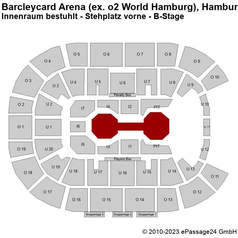 Saalplan Barcleycard Arena (ex. o2 World Hamburg), Hamburg, Deutschland, Innenraum bestuhlt - Stehplatz vorne - B-Stage