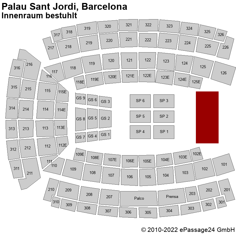 Saalplan Palau Sant Jordi, Barcelona, Spanien, Innenraum bestuhlt
