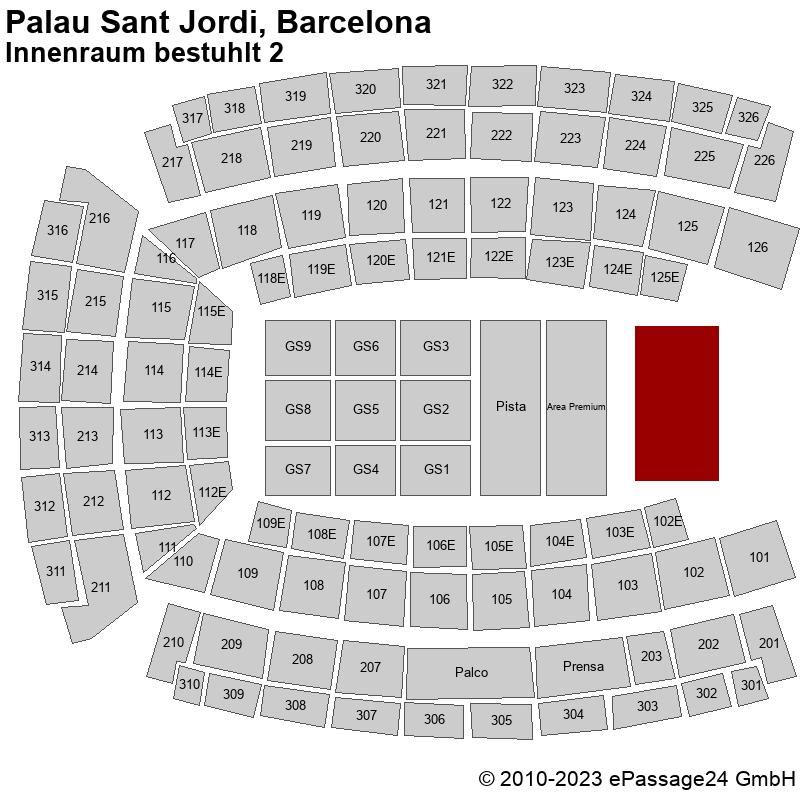 Saalplan Palau Sant Jordi, Barcelona, Spanien, Innenraum bestuhlt 2