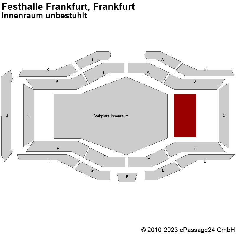 Saalplan Festhalle Frankfurt, Frankfurt, Deutschland, Innenraum unbestuhlt