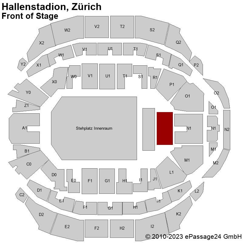 Saalplan Hallenstadion, Zürich, Schweiz, Front of Stage