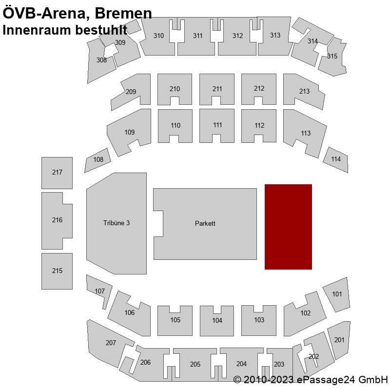 Saalplan ÖVB-Arena, Bremen, Deutschland, Innenraum bestuhlt