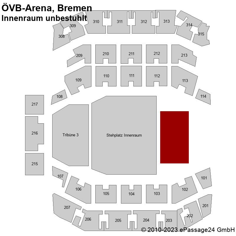 Saalplan ÖVB-Arena, Bremen, Deutschland, Innenraum unbestuhlt