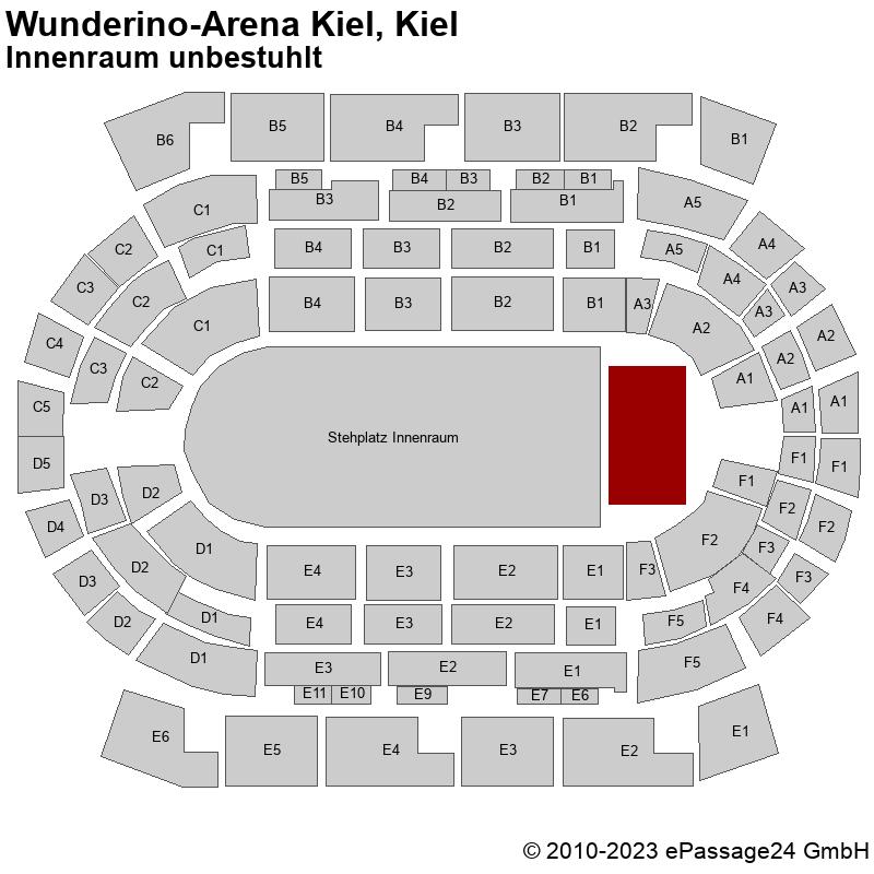 Saalplan Wunderino-Arena Kiel, Kiel, Deutschland, Innenraum unbestuhlt
