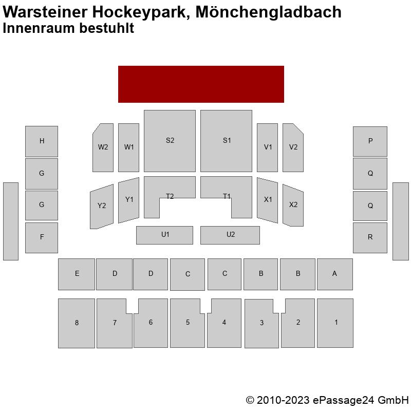 Saalplan Warsteiner Hockeypark, Mönchengladbach, Deutschland, Innenraum bestuhlt