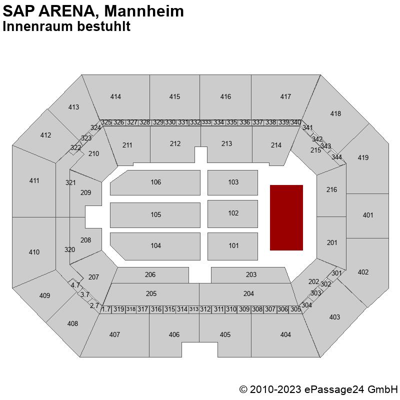 Saalplan SAP ARENA, Mannheim, Deutschland, Innenraum bestuhlt