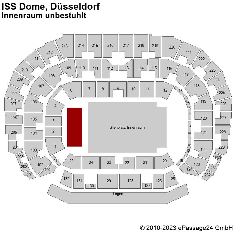 Saalplan ISS Dome, Düsseldorf, Deutschland, Innenraum unbestuhlt