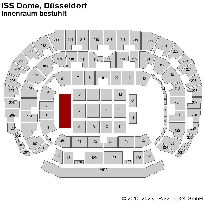 Saalplan ISS Dome, Düsseldorf, Deutschland, Innenraum bestuhlt
