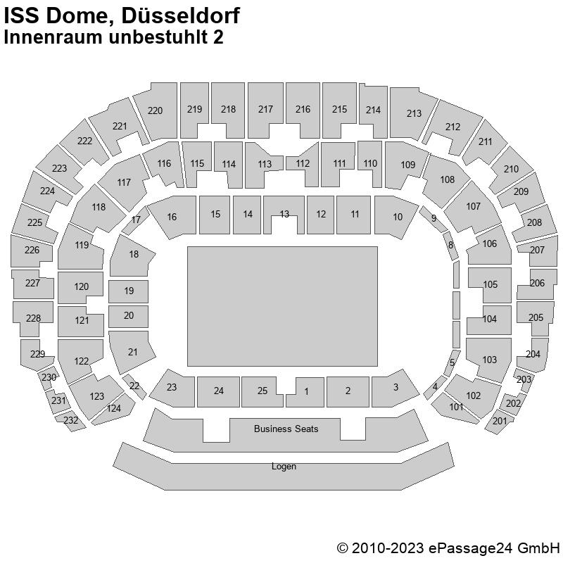 Saalplan ISS Dome, Düsseldorf, Deutschland, Innenraum unbestuhlt 2