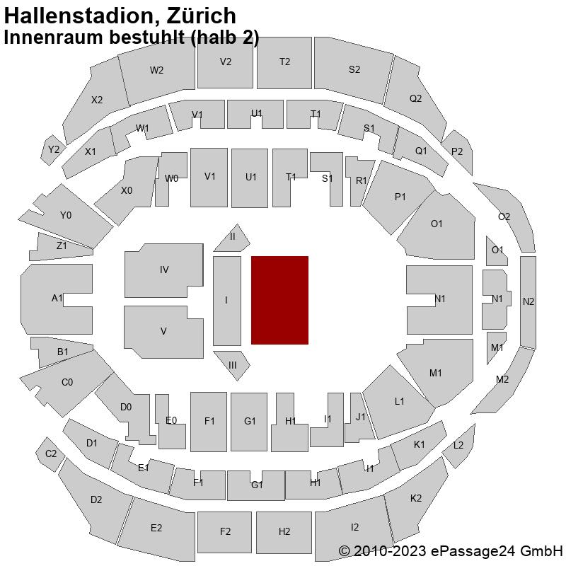 Saalplan Hallenstadion, Zürich, Schweiz, Innenraum bestuhlt (halb 2)