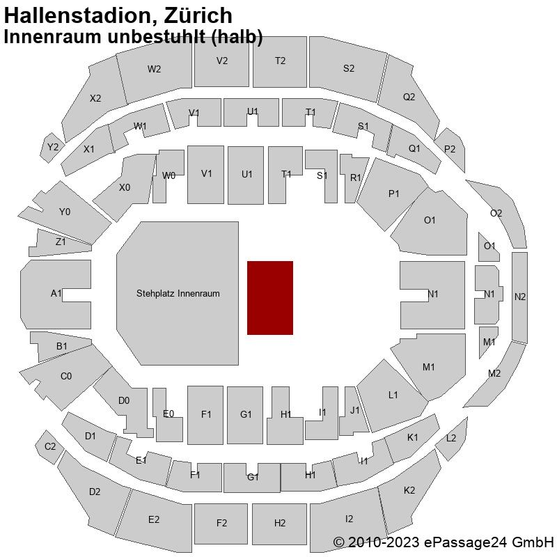 Saalplan Hallenstadion, Zürich, Schweiz, Innenraum unbestuhlt (halb)